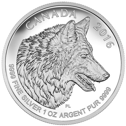 canada 2016 $5 wolf fract. bSMALL