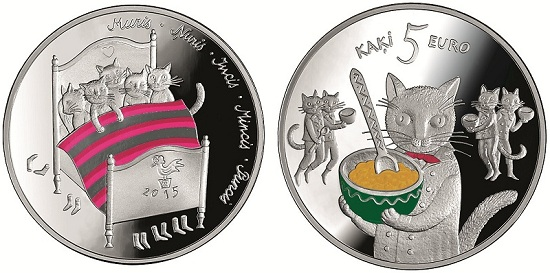 latvia 2015 5 Kats coin aBOTH