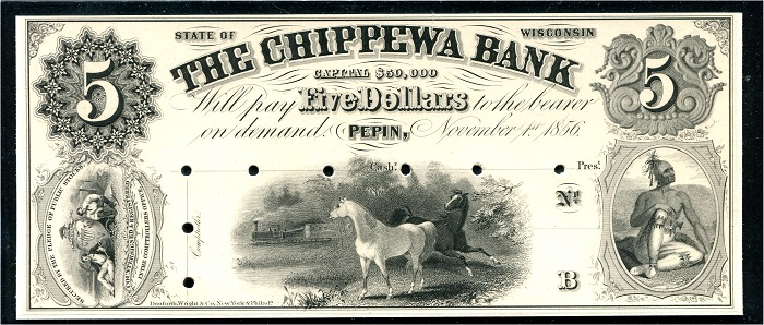 A genuine note of the Chippewa Bank, Wisconsin. Images courtesy of Don C. Kelley.