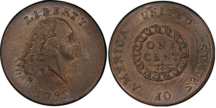 1793 Flowing Hair Chain cent.