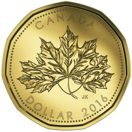 Canada 2016 $1 anniversary bSMALL