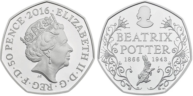 UK 2016 50 p Potter silver BOTH