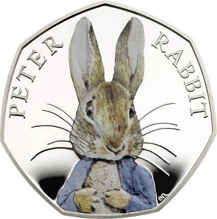 UK 2016 50p-Peter Rabbit Silver Proof ColourSMALL