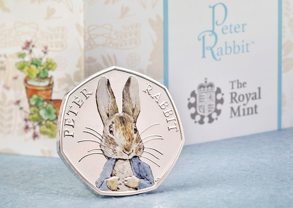 UK 2016 Peter Rabbit 50p silver colour & bookSMALL