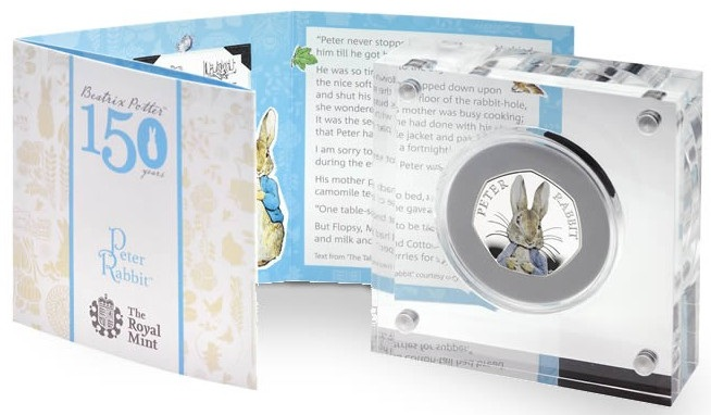 UK 2016 Peter Rabbit 50p silver colour caseSMALL
