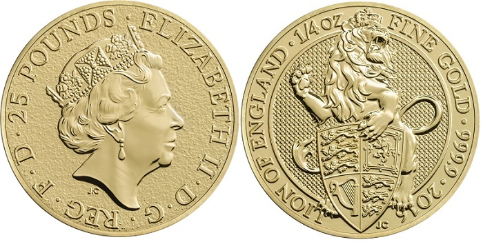 UK 2016 £25 gold Beasts aBOTH