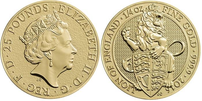 UK 2016 £25 gold Beasts aBOTH