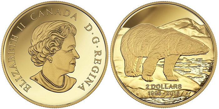 canada 2016 $2 gold polar aBOTH