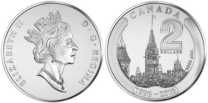 canada 2016 $2 platinum parliament aBOTH