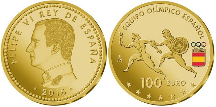 spain 2016 olympics €100 aBOTH