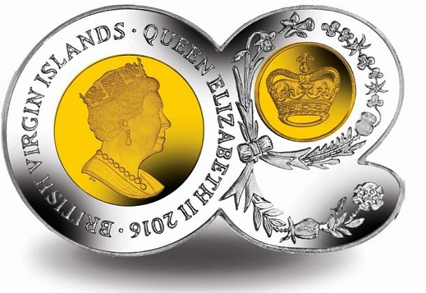 BVI 2016 $10 90 shape coin aSMALL