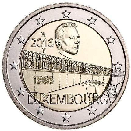 luxemburg 2016 €2 charlotte bridge aSMALL