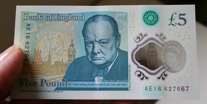 The U.K.'s Churchill £5 polymer bank note. Photo by Michael Alexander.