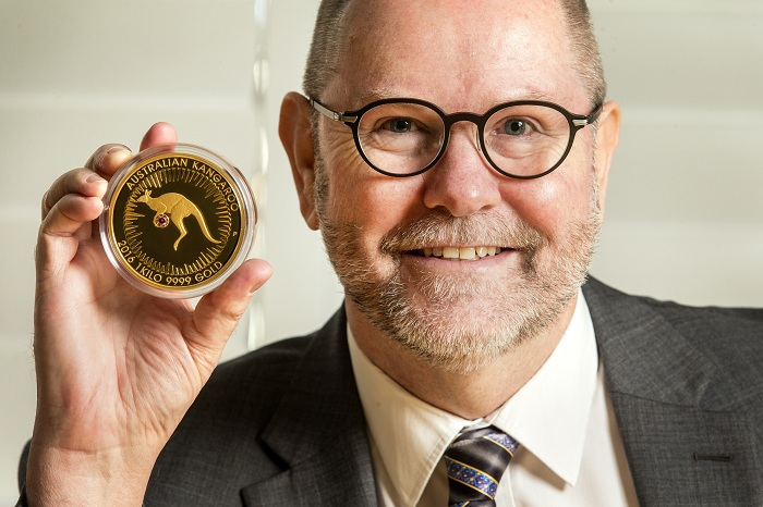 3. Perth Mint Chief Executive Officer, Richard Hayes with the Kimberley Treasure coin 1SMALL
