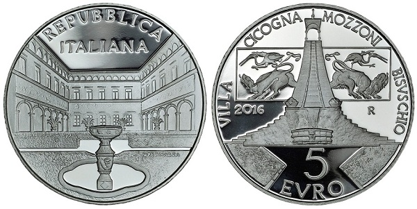Italy 2016 €5 VILLA CICOGNA MOZZONI BOTH