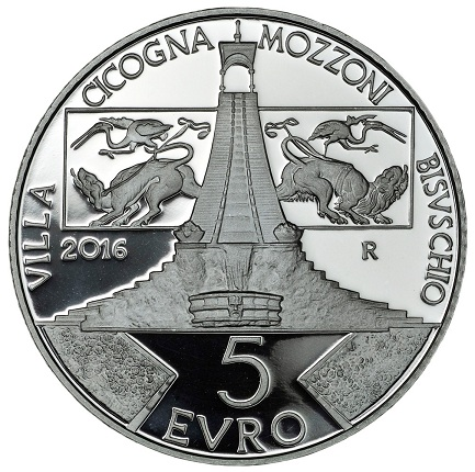 Italy 2016 €5 VILLA CICOGNA MOZZONI bSMALL