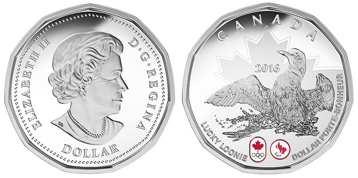 canada 2016 $1 lucky loonie silver BOTH