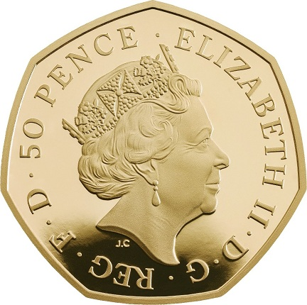 UK 2016 50 pence hastings gold aSMALL