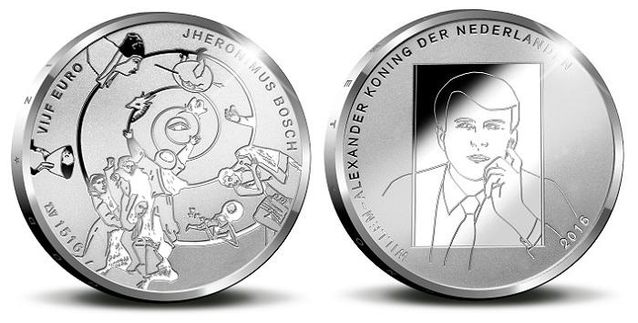netherlands 2016 €5 bosch silver bBOTH