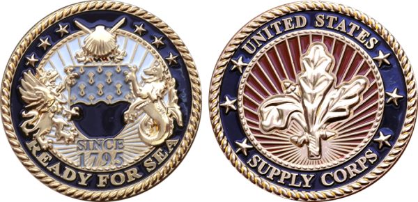 embleholics_supply_corps_custom_challenge_coin_front_side