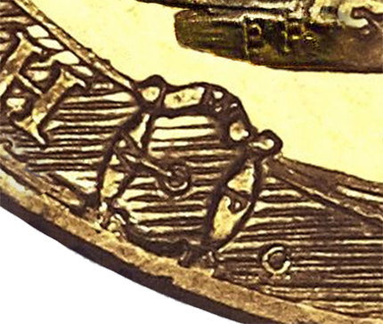 "Initials W-W-P, arranged around three sides of the buckle on an 1817 ""garter"" Sovereign."