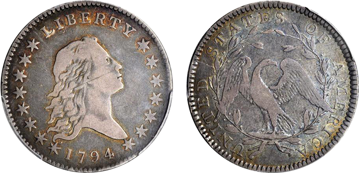 Stack's Bowers Galleries November 2016 Baltimore Auction, Lot 2082: a 1794 Flowing Hair half dollar, graded VF-25.