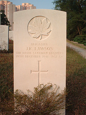 The headstone of Brigadier John K. Lawson. (Wikipedia photo by Cougarwalk)
