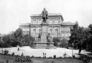 The Hungarian Academy of Sciences, with the Engel statue of István Széchenyi in front, photographed ca. 1890. (Photo courtesy of Budapest City Archives)