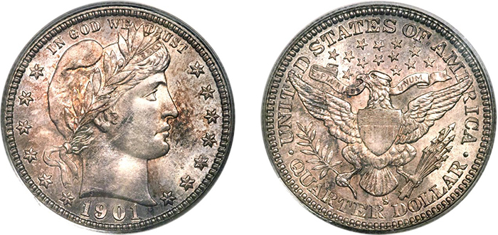 Heritage Signature Auction of U.S. Coinage, Oct. 31-Nov. 2, lot 5244: a 1901-S Barber quarter, certified MS-65.