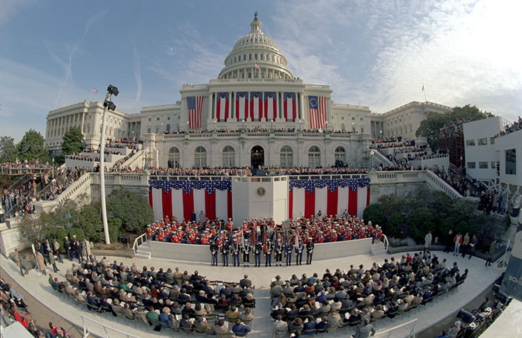 The January 20, 1981, Inaugural Address of Ronald Reagan, U.S. Capitol. (Photo courtesy of the Reagan Library)