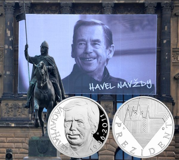"An image of Václav Havel and the words ""Havel Forever"" has been on Wenceslas Square since the start of the Velvet Revolution, November 17, 2014. (Photo by David Sedlecky)"