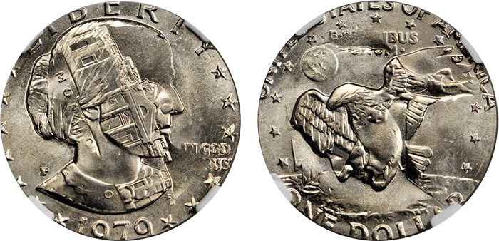 Stack's Bowers Galleries November 2016 Baltimore Auction, Lot 2194: a 1979-P Susan B. Anthony dollar overstruck on a 1978 Jefferson nickel, graded MS-67.