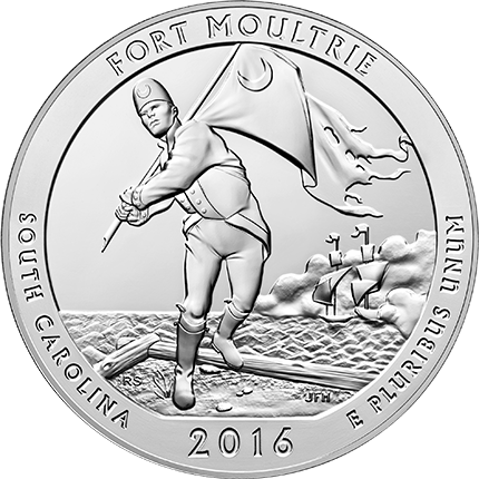Reverse of the Fort Moultrie (Fort Sumter National Monument) 5-ounce silver bullion coin. (U.S. Mint image)