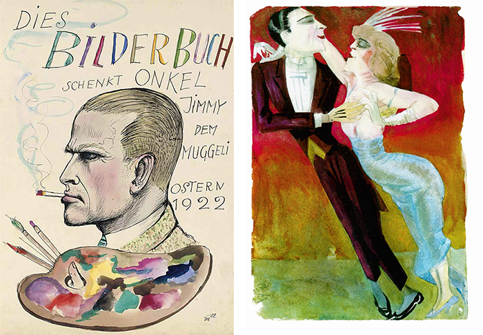 "At left is the Dix self-portrait type in the coin's background. The artist represented himself in similar, left-facing profiles, complete with bulging vein, scowl, and cigarette, in multiple pieces. This one is a drawing for picturebook that he gave to ""Muggeli,"" perhaps a young relative. At right is the Modern Dancers print; the original depicts the dancers moving to the right, but the coin's designer found it more effective to reverse their direction, as shown here. (Wikipedia photos)"