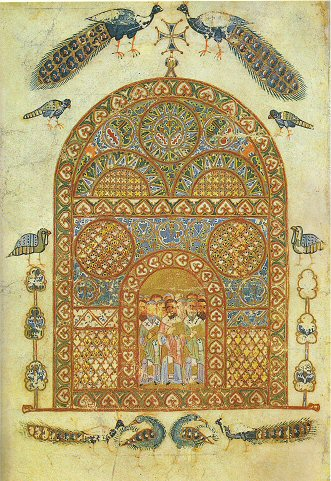 An illuminated page from Izbornik Svyatoslav 1076, depicting peacocks.