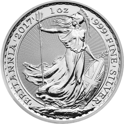 In 2017, the Royal Mint will be adding platinum to its existing line of bullion investment products. (A 1-ounce silver Britannia is shown; photo courtesy the Royal Mint.)