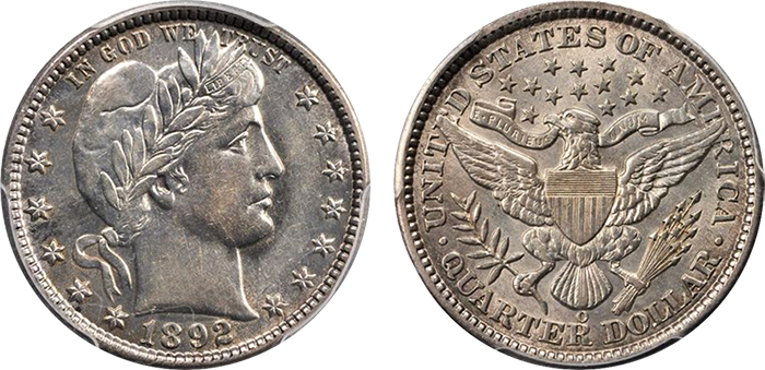 1892-O Barber quarter, AU-55. Sold at auction for $164.50.