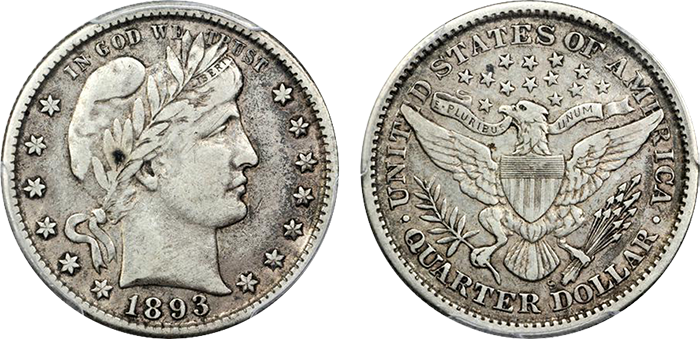 1893-S Barber quarter, VF-35. Sold at auction for $235.