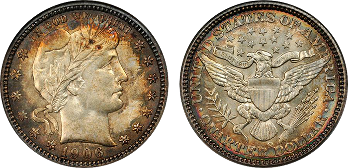 1906-D Barber quarter, MS-64. Sold at auction for $517.50.