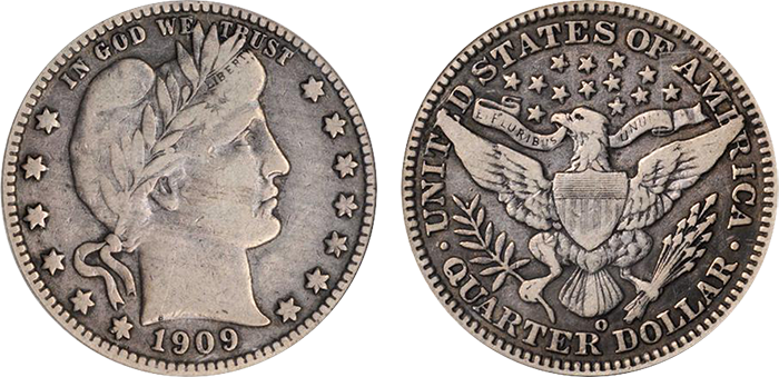 1909-O Barber quarter, VF-20. Sold at auction for $616.88.