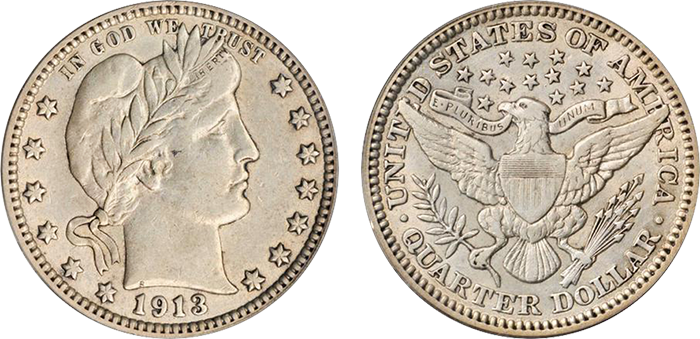 1913 Barber quarter, EF-45. Sold at auction for $293.75.