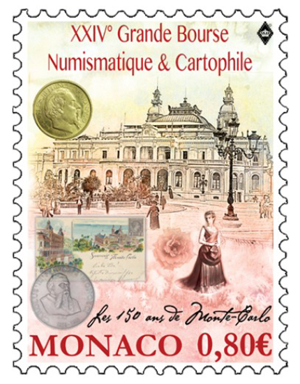 A commemorative stamp supporting the coin show was issued this year; the design is taken from the official poster advertising the show.