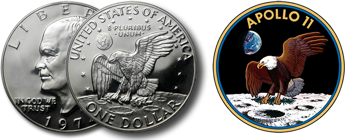 Two years after the Apollo 11 landing, the reverse design of the new Eisenhower dollar coin commemorated the event. Collector versions of the circulating coins were struck in 40% silver. (APMEX photo)