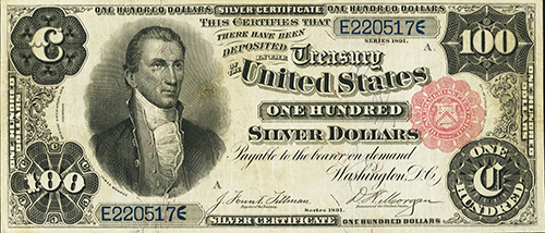 $100 Large Size Silver Certificate, 1891, Boston, Very Fine 30 Apparent (lot 23080).