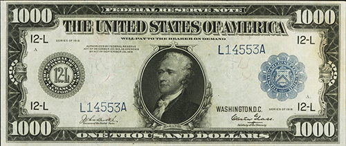 $1,000 Large Size Federal Reserve Note, 1918 series, San Francisco, Very Fine 25 (lot 23110).