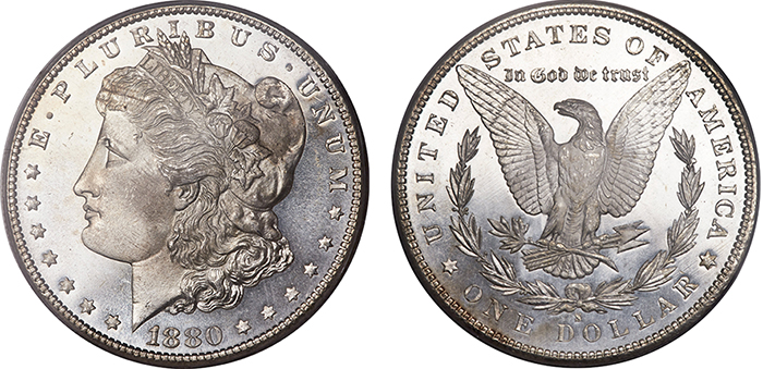 1880-S silver dollar, MS-69 PL (lot 5744).