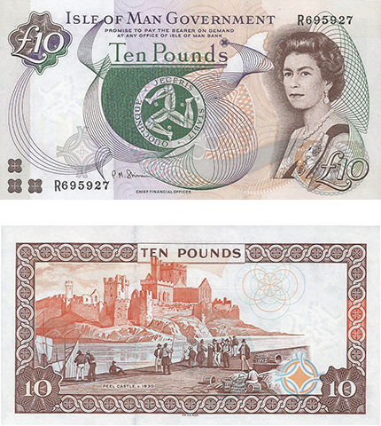 Introduced in the early 1990s, this more modern-looking 10 Pound continues to circulate on the Isle of Man to this day.