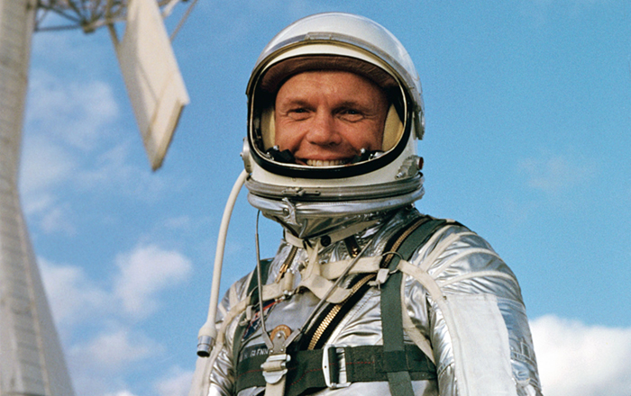 Astronaut John H. Glenn Jr., wearing a Mercury pressure suit, is photographed at Cape Canaveral, Florida, during preflight training activities for the Mercury-Atlas 6 mission.