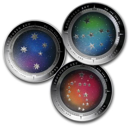 The Southern Sky series: clockwise from left, Crux, Pavo, and Orion.