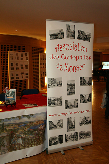 Sign for the postcard display of the Association des Cartophiles de Monaco.